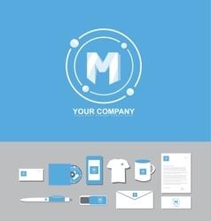 Letter M blue circle logo vector image