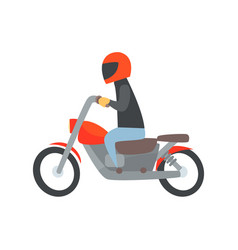 Man in helmet riding a motorcycle cartoon vector