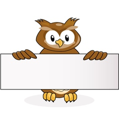 owl with blank sign vector image