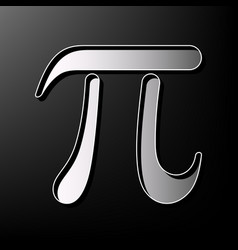 Pi greek letter sign gray 3d printed icon vector