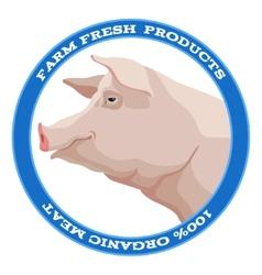 Pig label blue vector image vector image