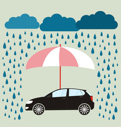 Pink umbrella protecting car against rain flat vector