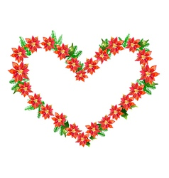 poinsettia heart vector image