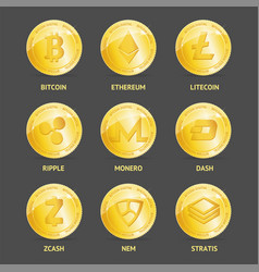 realistic 3d detailed crypto coins set vector image