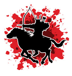 Samurai warrior with bow riding horse vector