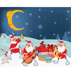 Santa claus music band and christmas gifts vector