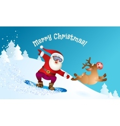 Santa snowboarding with reindeer vector
