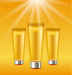Set sunscreen bottles and tubes of lotions vector