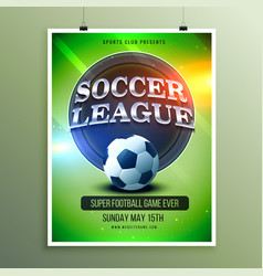 Soccer league presentation flyer vector