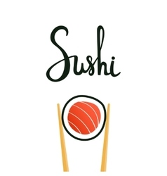 Sushi calligraphy hand drawn lettering vector image