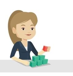 Woman building pyramid of network avatars vector