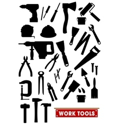 Work tools silhouette icons vector