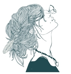 profile of beautiful woman with butterfly vector image