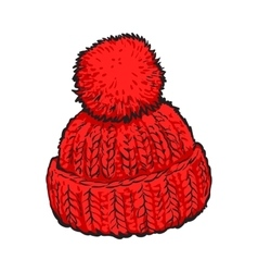 Bright red winter knitted hat with pompon vector