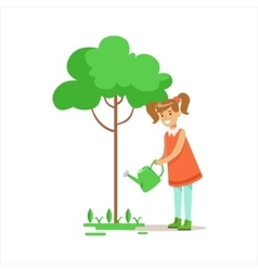 Girl watering tree helping in eco-friendly vector