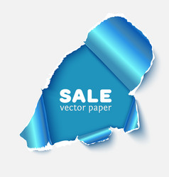 Hole in white paper with blue torn sides vector