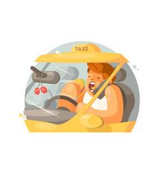 Taxi driver driving vector