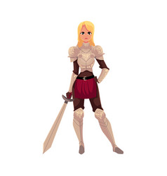 Beautiful blond woman dressed as medieval knight vector