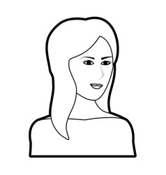Black silhouette cartoon half body woman with long vector