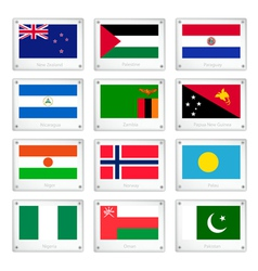 Two world flags on metal texture plates vector