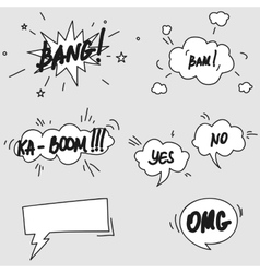 Set of hand drawn comic speech bubbles elements vector