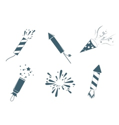 Poppers and fireworks set vector