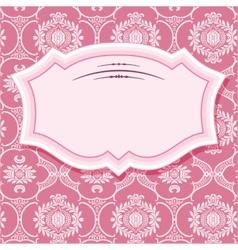 Frame on patterns in pastel pink vector