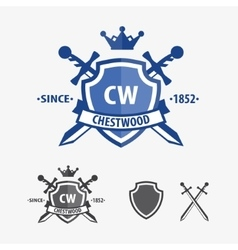 Retro sword badges and shields logo design vector
