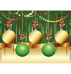 Gold and green xmas balls3 vector