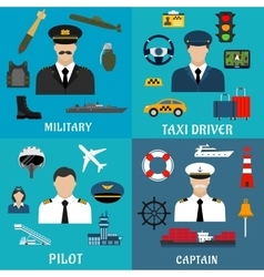 Military captain pilot and taxi driver icons vector