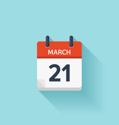 March 21 flat daily calendar icon date vector
