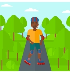 Sporty man on roller-skates vector