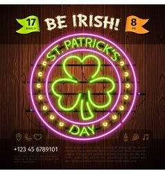 St patricks day round neon sign vector