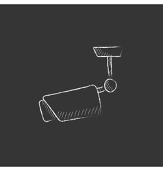 Outdoor surveillance camera drawn in chalk icon vector