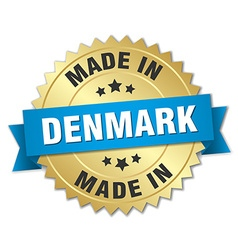 Made in denmark gold badge with blue ribbon vector