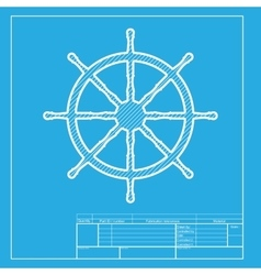 Ship wheel sign white section of icon on vector