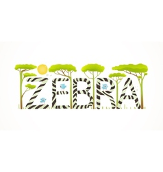 African Zebra Animals Fun Lettering Cartoon vector image vector image