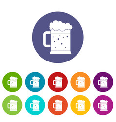 beer mug icons set flat vector image