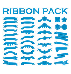 Big set of embroidered blue ribbons and stumps vector
