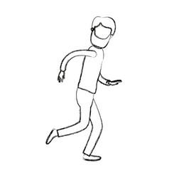 Blurred silhouette cartoon faceless full body man vector