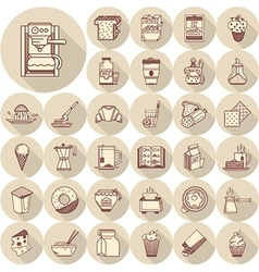Breakfast line icons big set vector image