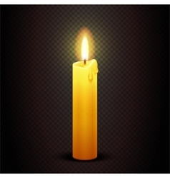 candle with flame on transparent checkered vector image
