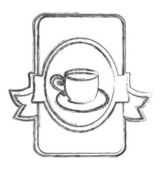 contour symbol cup with plate icon vector image