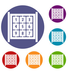 cubes with numbers on playground icons set vector image