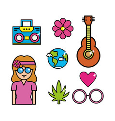Cute hippie woman with important tools vector