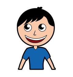 Cute upper body man cartoon vector