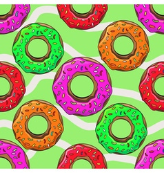 Donut with sprinkles seamless pattern vector