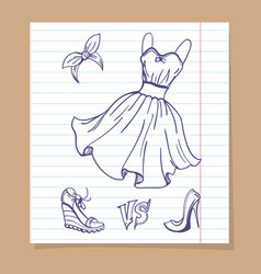 Dress and shoes sketch vector