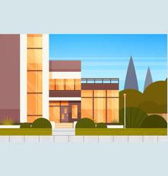 Entrance door to modern house luxury villa vector