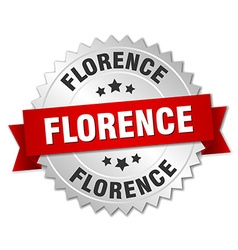 Florence round silver badge with red ribbon vector